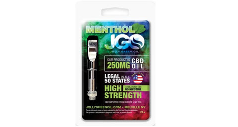 250mg Menthol CBD Cartridge 0.5ml Glass Tank- Jolly Green Oil