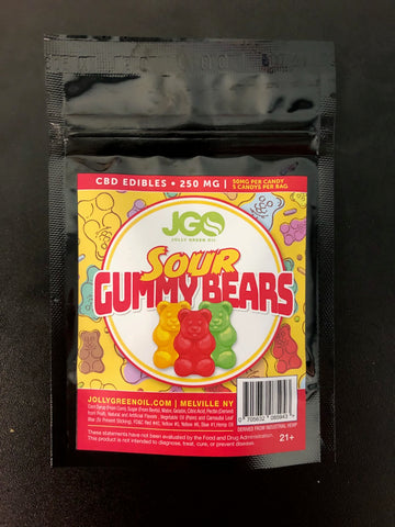 250mg CBD Sour Gummy Bears 5pcs/bag - Jolly Green Oil