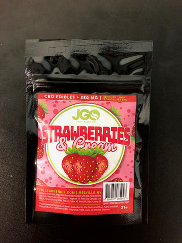 250mg CBD Strawberries and Cream 5pcs/bag - Jolly Green Oil