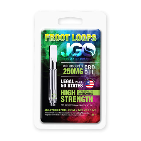 250mg Froot Loop CBD Cartridge 0.5ml Glass Tank - Jolly Green Oil