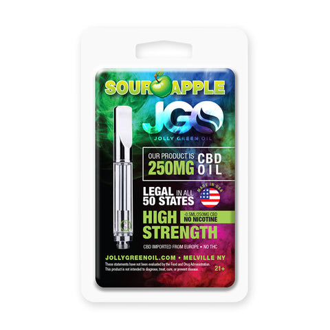 250mg Sour Apple CBD Cartridge 0.5ml Glass Tank- Jolly Green Oil