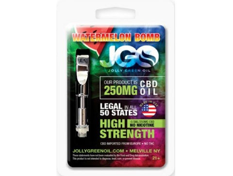 250mg Watermelon Bomb CBD Cartridge 0.5ml Glass Tank- Jolly Green Oil