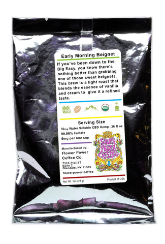 30mg CBD Early Morning Beignet Coffee (2)-1oz Sachets - Flower Power Coffee Co.