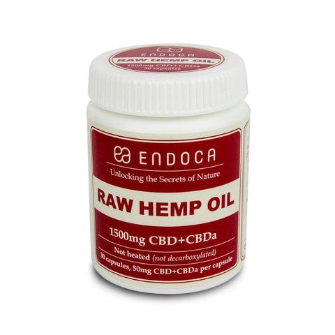 1500mg CBD RAW Hemp Oil Capsules 30ct Bottle - Endoca