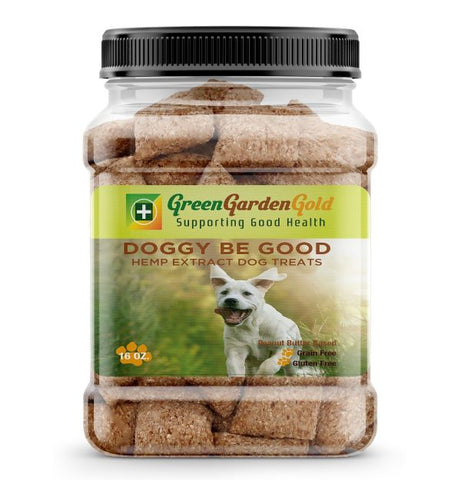 140mg Doggy Be Good Gluten-Free Peanut Butter Hemp Treats 12oz Jar - Green Garden Gold
