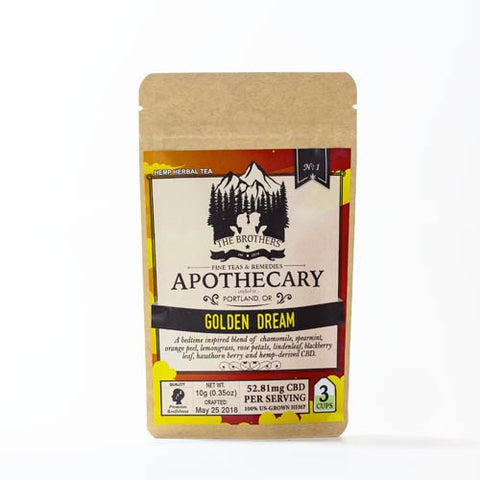 52.81mg CBD Infused Golden Dream Tea 3 Teabags/Pouch - The Brothers Apothecary