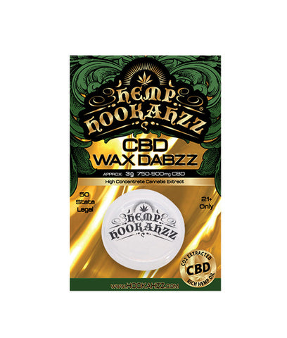 750mg CBD Wax Dabzz Concentrate 3 Grams- Hemp Hookahzz