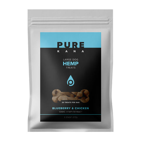 50mg Blueberry & Chicken Large Dog Hemp Treats 3.25oz - PureKana