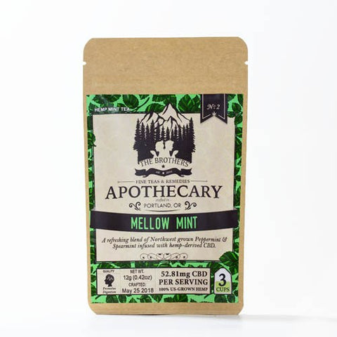 52.81mg CBD Infused Mellow Mint Tea 3 Teabags/Pouch - The Brothers Apothecary