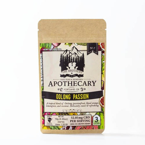 52.81mg CBD Infused Oolong Passion Tea 3 Teabags/Pouch- The Brothers Apothecary