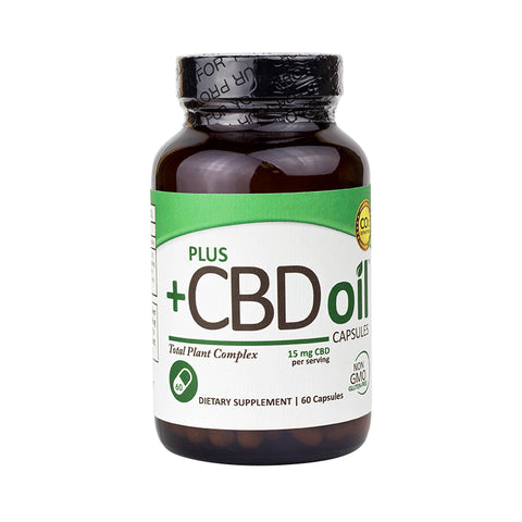15mg Hemp Oil CBD Capsules 60ct Botte - PlusCBDoil