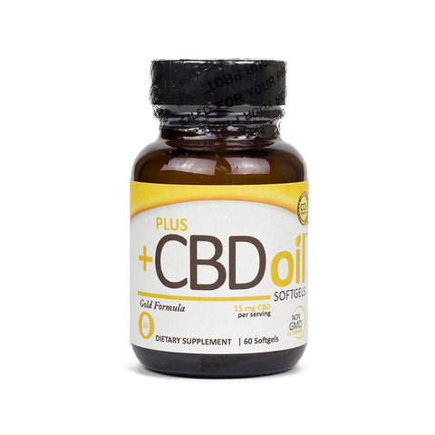 15mg Gold CBD Oil Softgels 60ct Bottle - PlusCBDoil