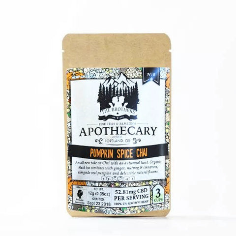 52.81mg CBD Infused Pumpkin Spice Chai Tea 3 Teabags/Pouch - The Brothers Apothecary