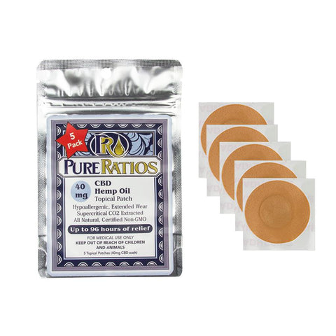 40mg Hemp Topical CBD Patch 5pk- Pure Ratios