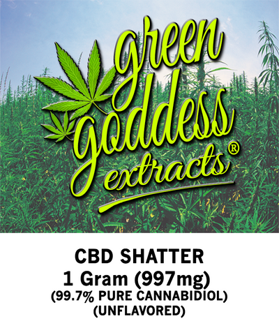 997mg Original CBD Shatter 1 Gram - Green Goddess Extracts