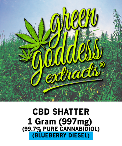 997mg Blueberry Diesel CBD Shatter 1 Gram - Green Goddess Extracts