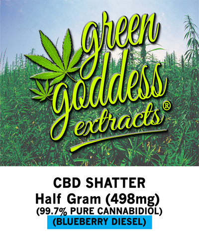498mg Blueberry Diesel CBD Shatter 0.5 Gram - Green Goddess Extracts