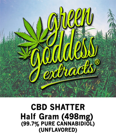 498mg Original CBD Shatter 0.5 Gram - Green Goddess Extracts