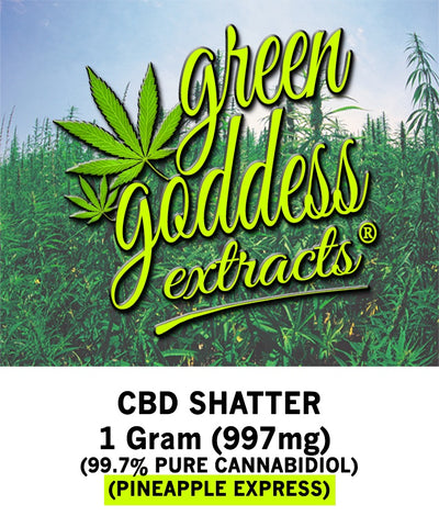 997mg Pineapple Express CBD Shatter 1 Gram - Green Goddess Extracts
