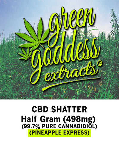 498mg Pineapple Express CBD Shatter 0.5 Gram - Green Goddess Extracts