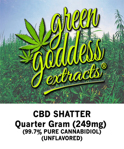 249mg Original CBD Shatter 0.25 Gram - Green Goddess Extracts