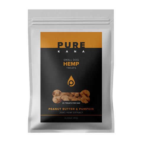 25mg Peanut Butter & Pumpkin Small Dog Hemp Treats 3.25oz - PureKana