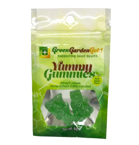 60mg CBD Sour Apple Yummy Gummies 2ct Bag - Green Garden Gold