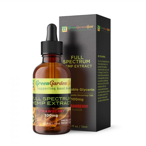 100mg Strawberry VG Blended CBD Oil Vape/Drip 15ml - Green Garden Gold