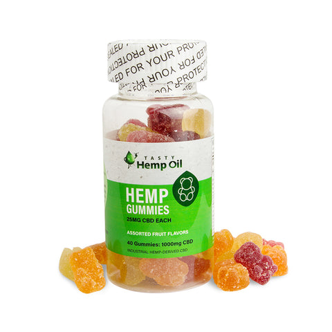 25mg Full Spectrum CBD Gummy Bears 40ct Bottle - Tasty Hemp Oil
