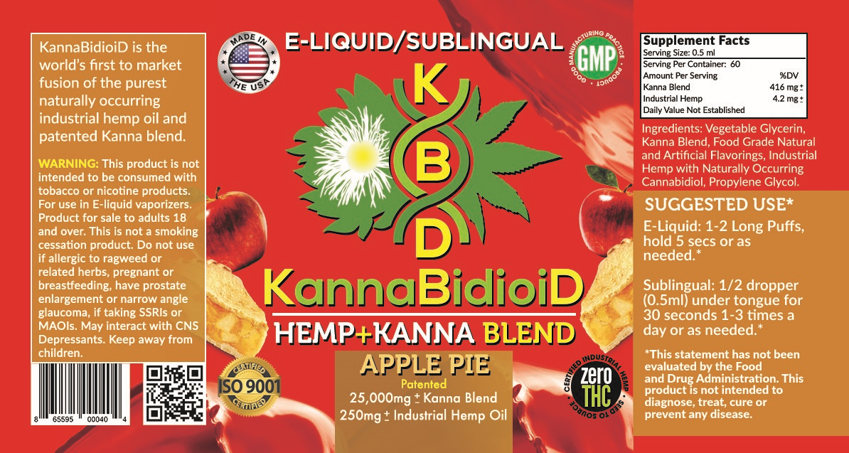 250mg CBD Hemp+Kanna Blend Apple Pie Vape/Drip 30ml - KannaBidioiD *BOGO*