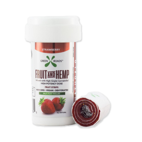 50mg Strawberry Fruit and Hemp - Vegan Fruit Strip  6in Strip- Green Roads