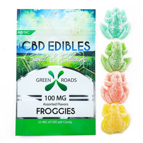 100mg Froggies CBD Infused Gummy Frogs 4ct Bag - Green Roads