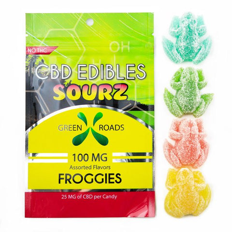 100mg Sour Froggies CBD Infused Gummy Frogs 4ct Bag - Green Roads