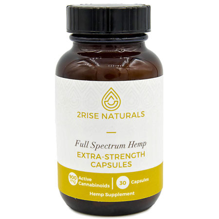900mg CBD Full Spectrum Extra-Strength Capsules 30ct Bottle - 2Rise Naturals