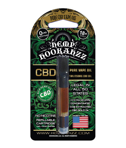 250mg Pure Gold Hemp CBD Oil Cartridge 1ml - Hemp Hookahzz