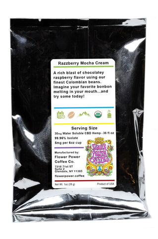 30mg CBD Razzberry Mocha Cream Coffee (2)-1oz Sachets - Flower Power Coffee Co.