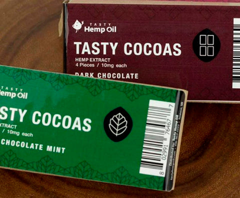 10mg CBD Tasty Cocoas Dark & Mint Chocolate 1 Box of Each-Tasty Hemp Oil