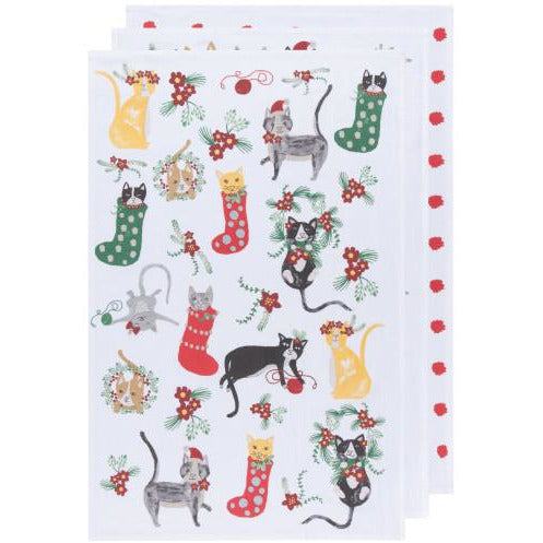 Meowy Christmas Tea Towels