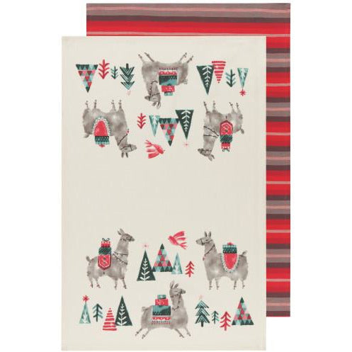 Happy Llamadays Tea Towel