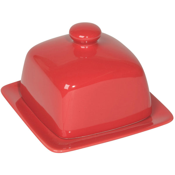Square Red Butter Dish
