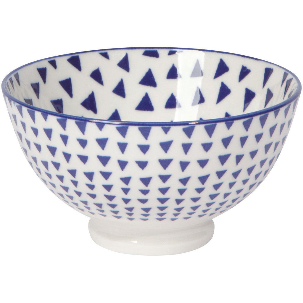 Porcelain Bowl in Blue Triangles