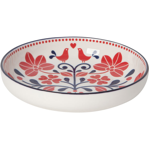 Shallow Red Bird Bowl