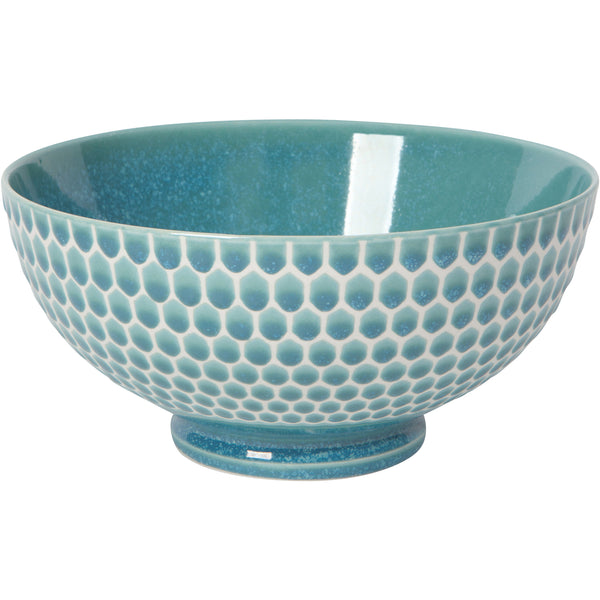 Large Teal Honeycomb Bowl