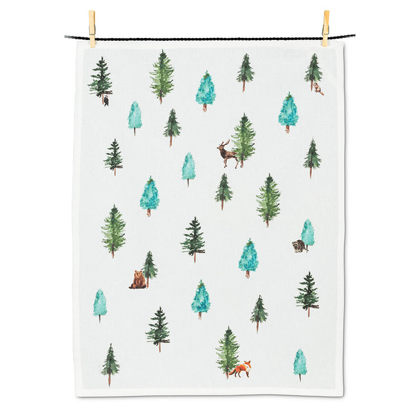 Evergreen and Animals Tea Towel