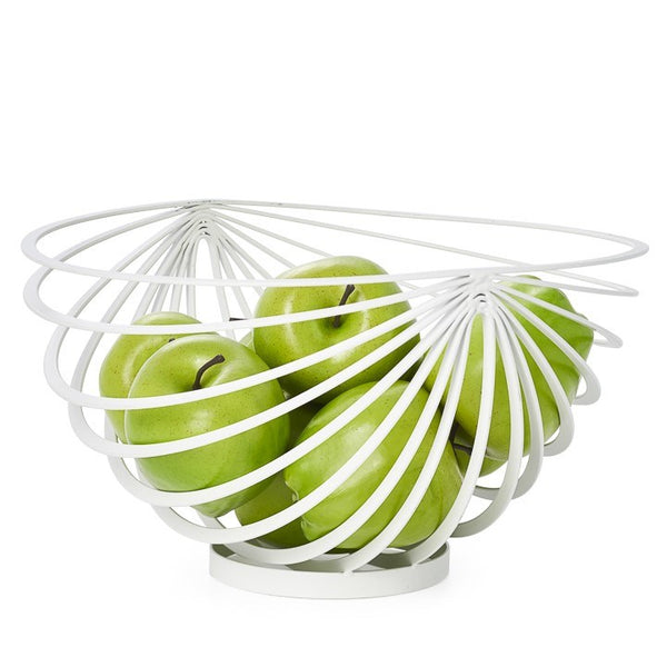 Metal Rib Fruit Bowl White