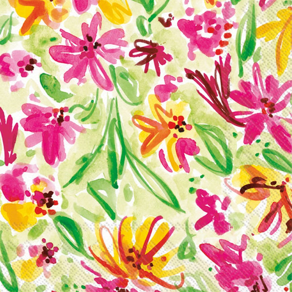 Watercolour Flowers Paper Napkins - Lunch
