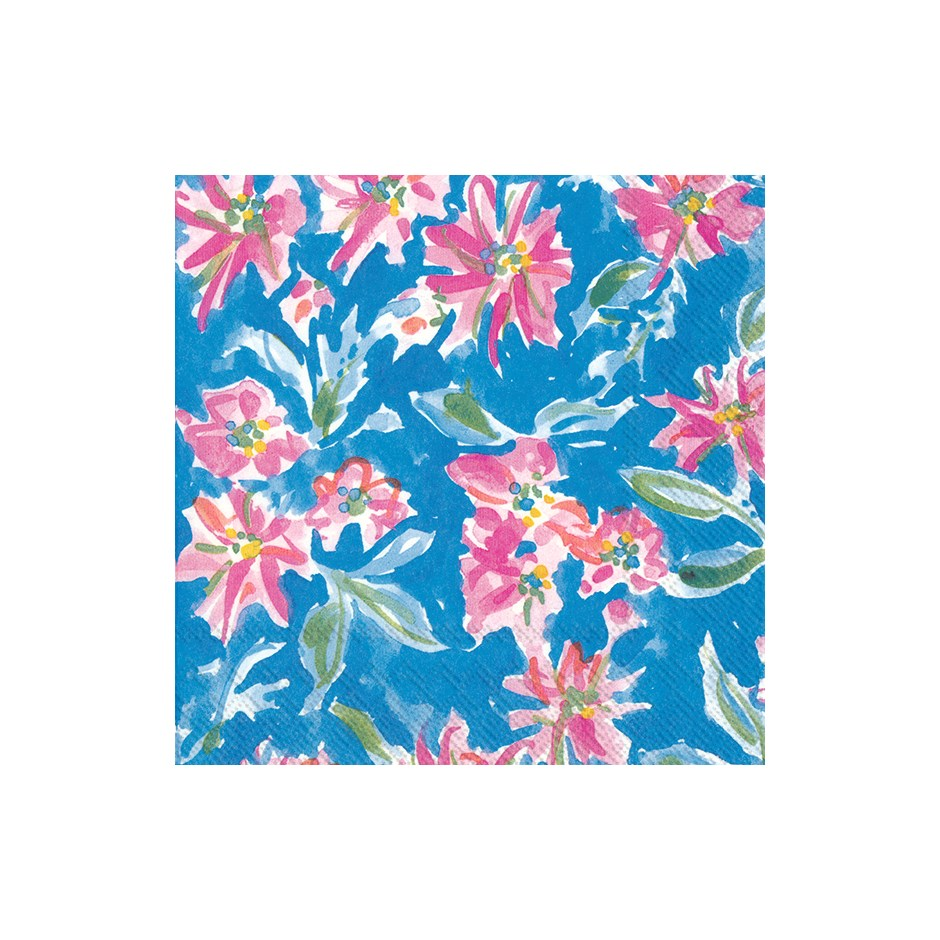 Blue Watercolour Flowers Paper Napkins - Cocktail