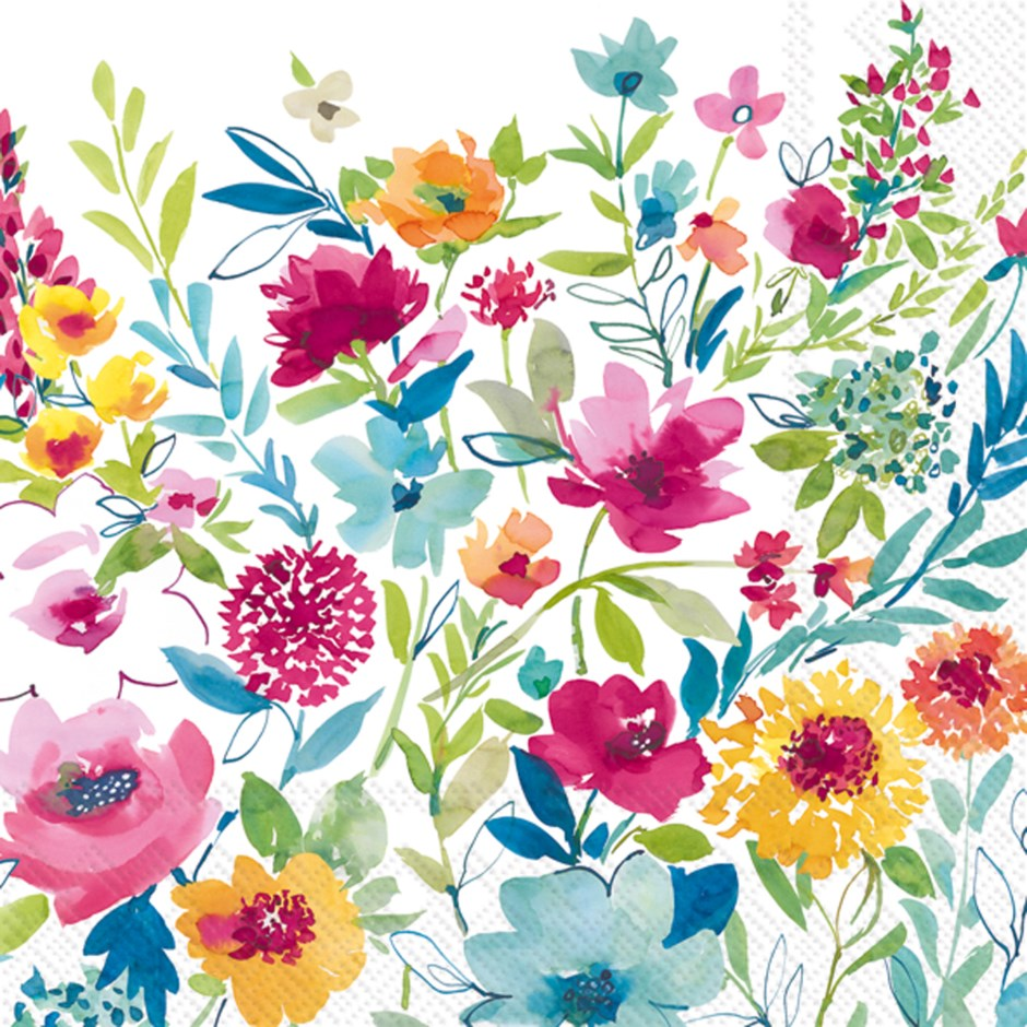 Painted Flowers Paper Napkins - Cocktail