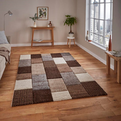 Think Rugs Brooklyn 21830 | Modern Beige & Grey Rugs | 120cm x 170cm