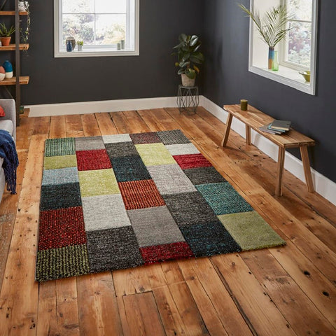 Think Rugs Brooklyn 21830 | Modern Grey & Multicoloured Rugs | 120cm x 170cm